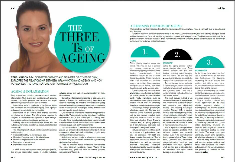 The Three Ts of Ageing, tone, texture, tightening Terri Vinson